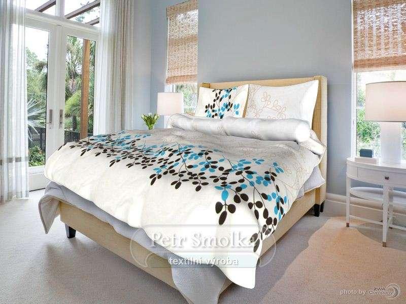 Bavlněné ložní povlečení bílé s vínovými květy - Květa modrá smolka