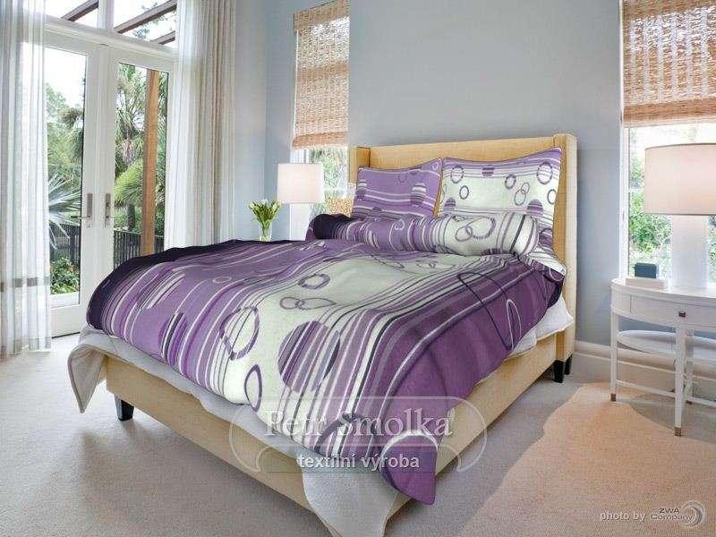 Bavlněné oboustanné povlečení fialové barvy se zajímavým vzorem klasická ,prodloužená,francouzká délka smolka