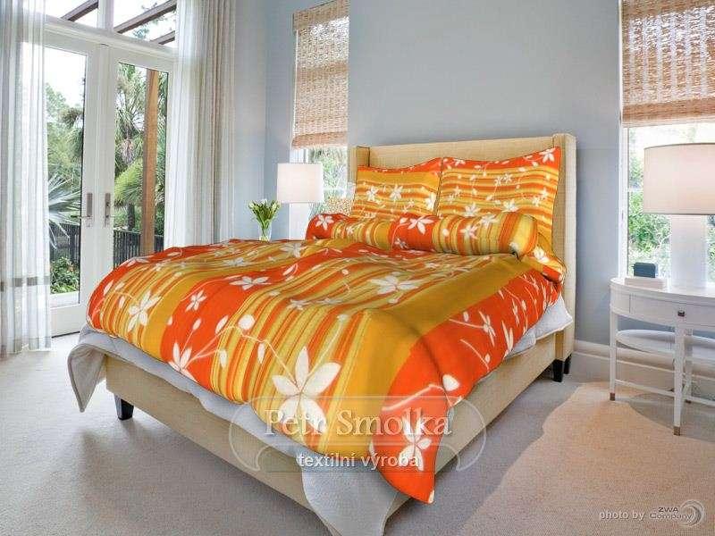 Bavlněné povlečení Liana oranžová s kombinací světlých květů - Liana oranžová smolka