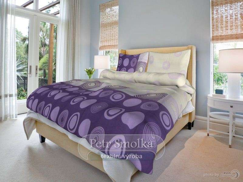 Bavlněné oboustanné povlečení fialové barvy se zajímavým vzorem klasická, francouzká délka smolka
