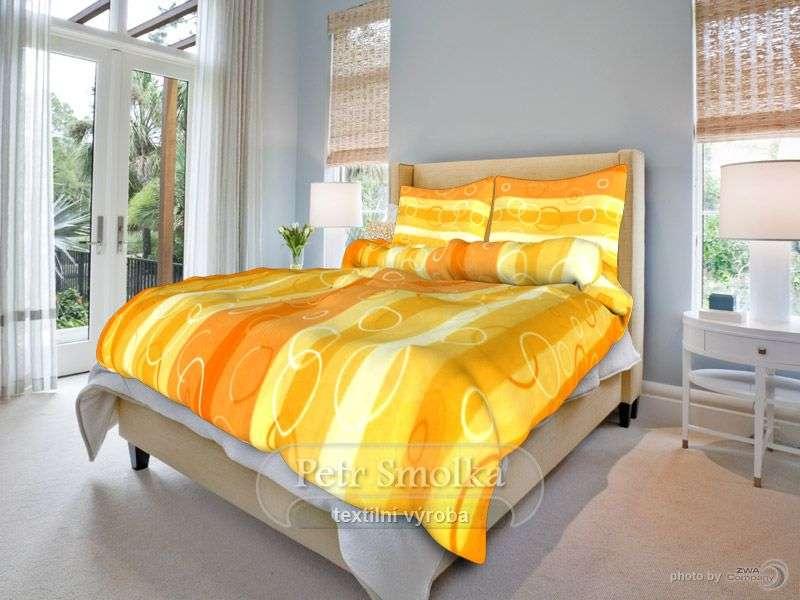 Krásné krepové povlečení laděné do oranžová - Kola oranžová smolka