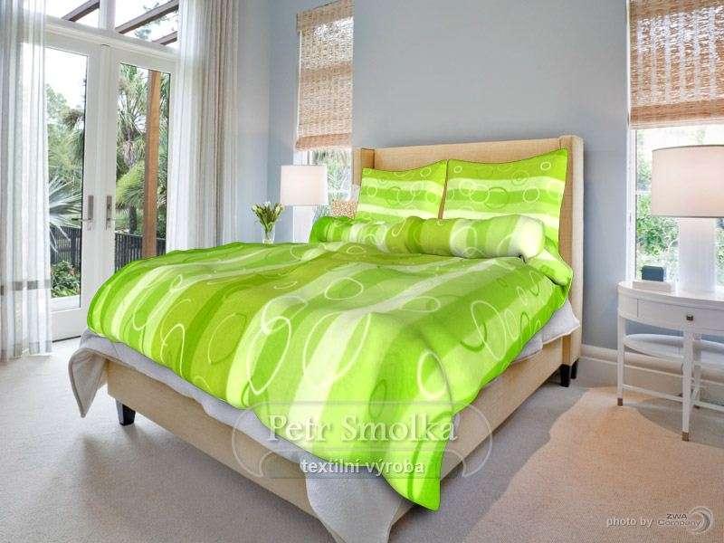 Krásné bavlněné povlečení laděné do zelena - Kola zelená smolka