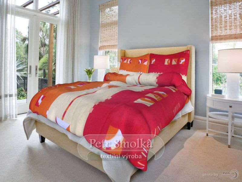 Krepové povlečení příjemných barev červené, oranžové a béžové barvy - Přesýpací hodiny červené smolka