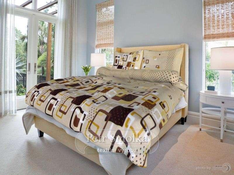 Kvalitní oboustrané bavlněné ložní povlečení béžové a tmavě hnědé barvy smolka