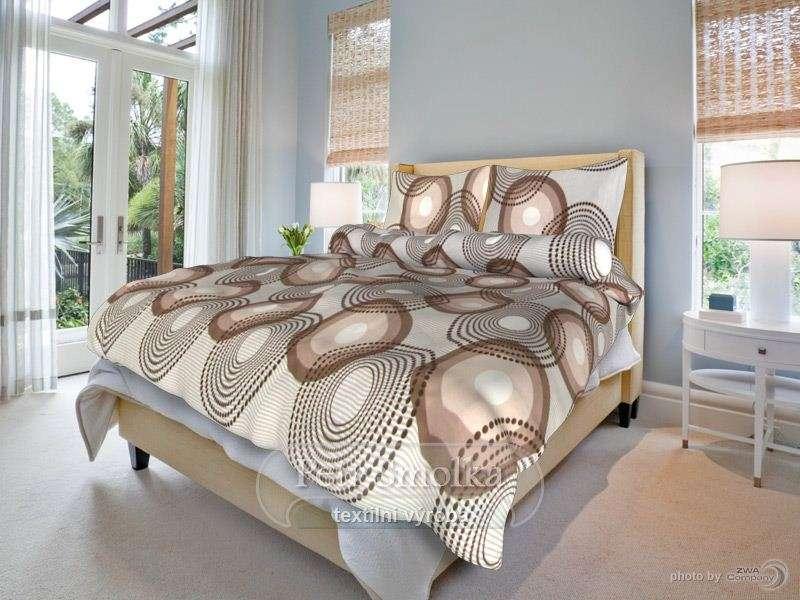 Kvalitní oboustrané bavlněné ložní povlečení béžové a světle hnědé barvy - Lenka béžová smolka