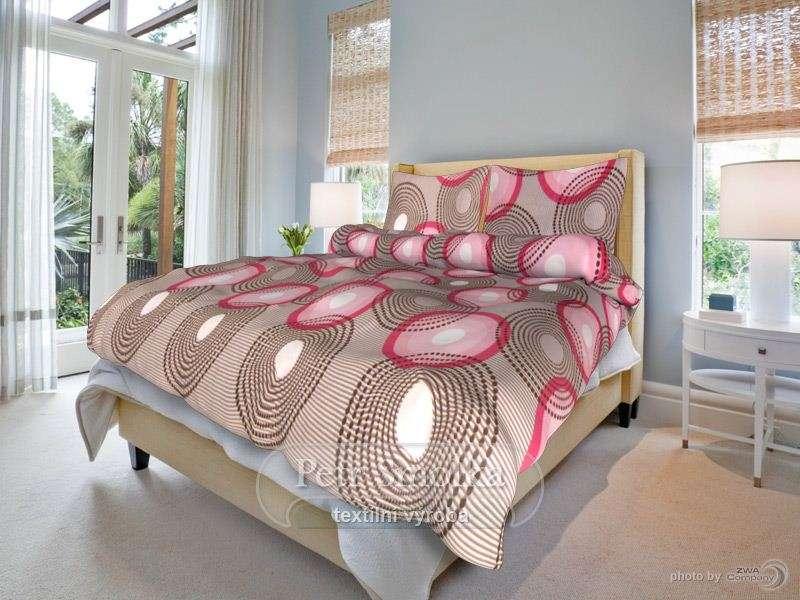 Kvalitní oboustrané bavlněné ložní povlečení béžové s kombinací červené - Lenka béžová smolka