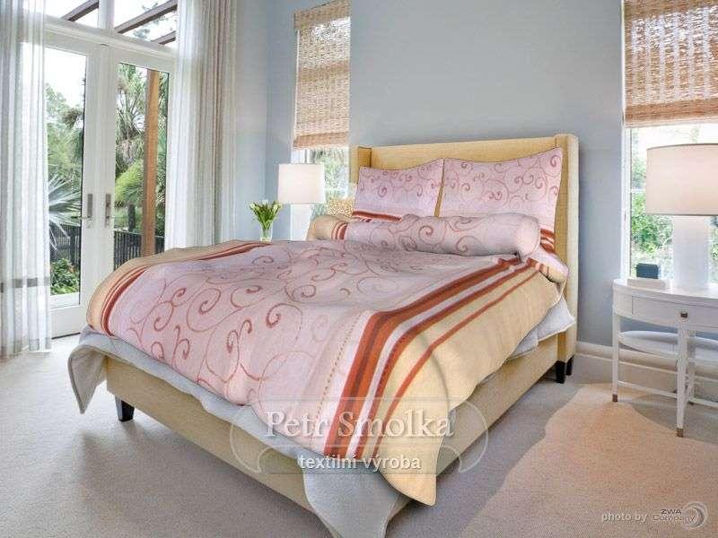 Kvalitní oboustrané bavlněné ložní povlečení béžové a starorůžové barvy - Kašmír běžový smolka