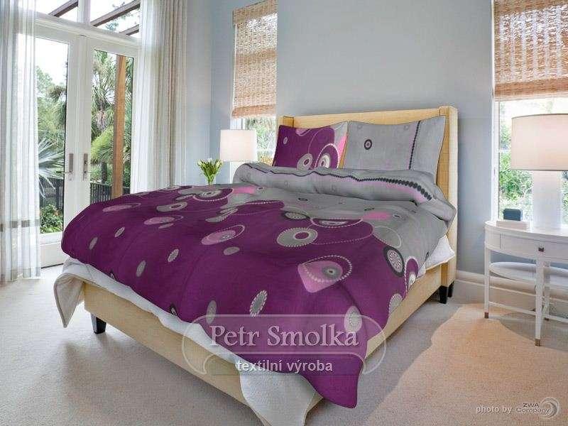 Kvalitní oboustrané bavlněné ložní povlečení fialové a šedé barvy - Perličky fialové smolka