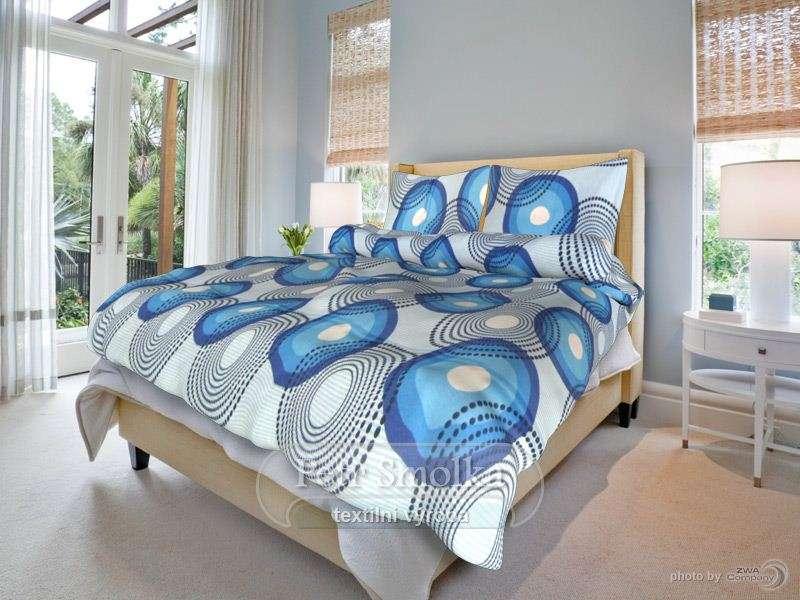 Kvalitní oboustrané bavlněné ložní povlečení světle a tmavě modré - Lenka modrá smolka