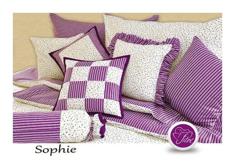 Kvalitní saténové povlečení selského stylu fialové barvy se zipovým uzávěrem Sophie