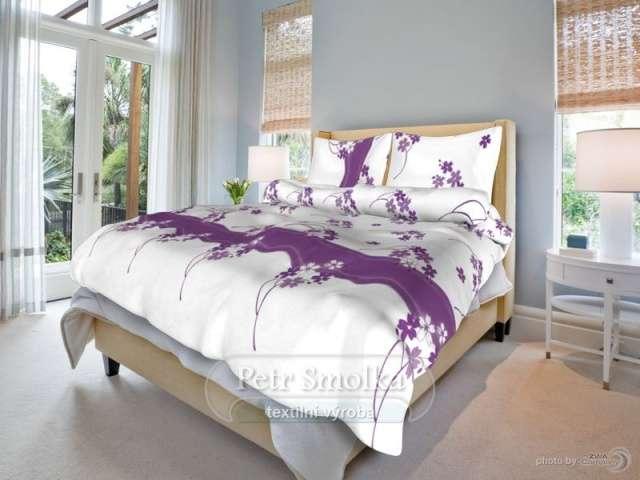 Bavlněné ložní povlečení bílé s fialovými květy smolka