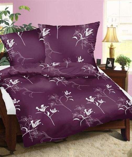 Bavlněné oboustanné povlečení fialové barvy se vzorem bílůých květů 1x70/90, 1x140/200cm smolka
