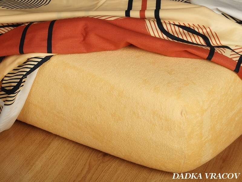 Kvalitní froté prostěradlo okrové luxus Dadka