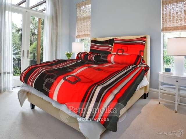Krepové oboustanné ložní povlečení černé a červené barvy - Tonda červený 1x70/90, 1x140/200cm smolka