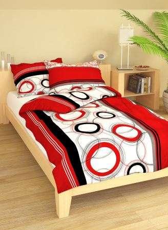 Krepové oboustranné povlečení Marta červená - bílé povlečení s kombinací černé a červené barvy 1x70/90, 1x140/200cm 1x70/90, 1x140/200cm smolka