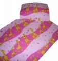 Povlečení bavlna do postýlky - Žirafa růžová