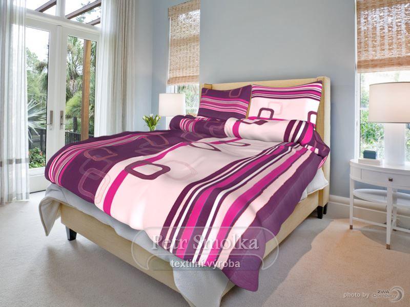 Bavlňené oboustanné ložní povlečení fialové a světlé barvy - Tonda fialový smolka