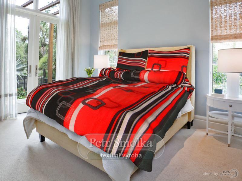 Bavlněné oboustanné ložní povlečení tmavě červené barvy s kombinací světle hnědé - Tonda hnědý smolka