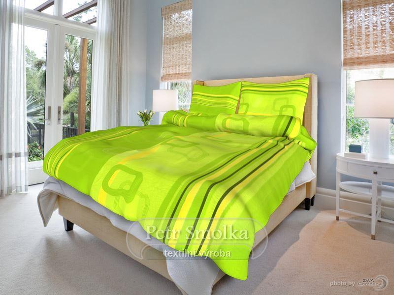 Bavlněné oboustranné ložní povlečení tmavě zelené barvy s kombinací žluté - Tonda zelený smolka