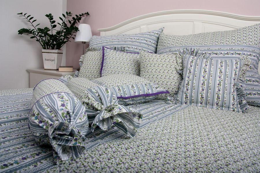 Luxusní bavlněný prošívaný přehoz Růže fialová