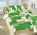 Povlečení satén - Obdélníky 3D zelené