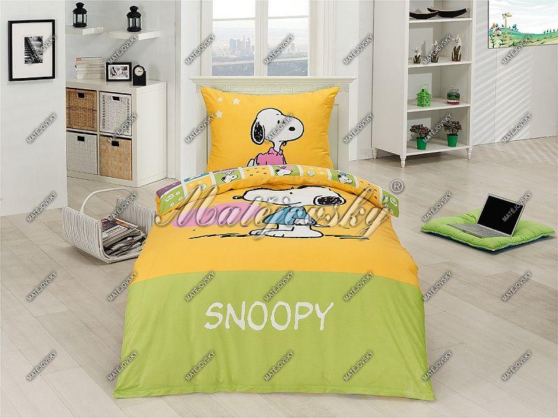 Povlečení pro děti se Snoopym a srdíčkem ve žluto-zelené barvě Matějovský
