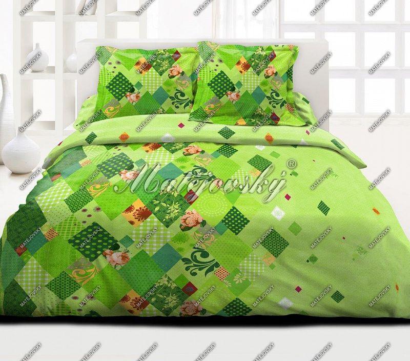 Krepové povlečení s patchworkovým vzorem laděné do zelených tónů Matějovský