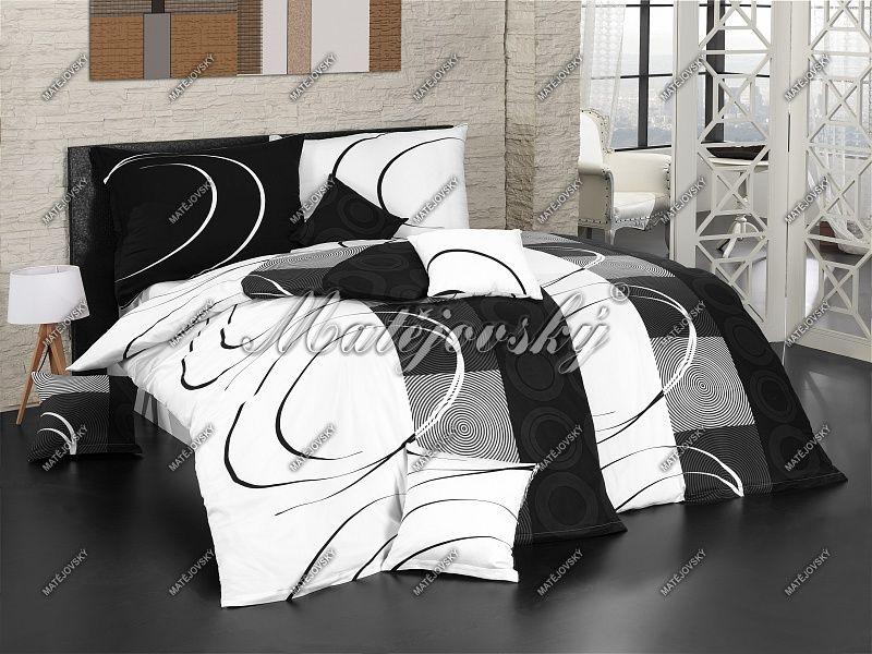 Bavlněné povlečení v černobílých barvách s kruhy a spirálami Matějovský