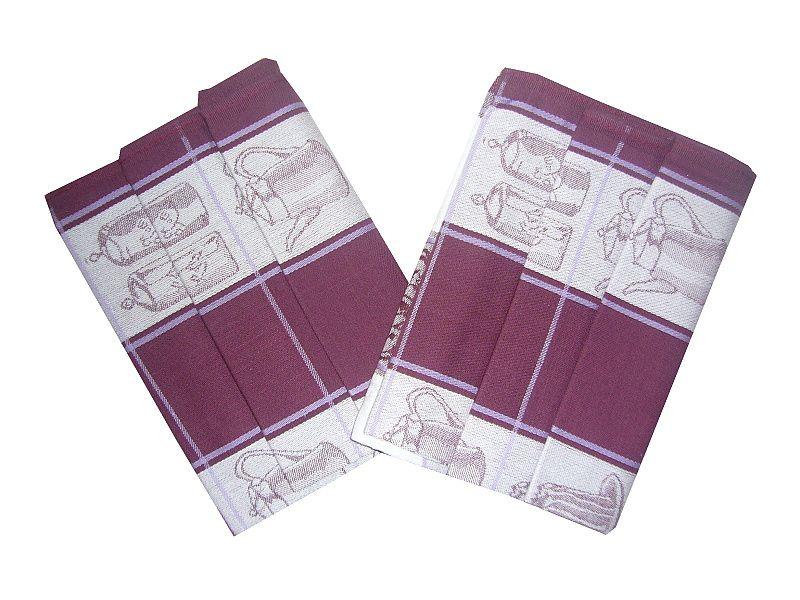 Bavlněné utěrky ostružinové Čajová souprava - 3 ks Svitap