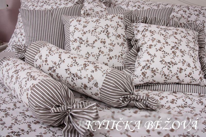 Bavlněné povlečení béžová kytička vesnického stylu český výrobce