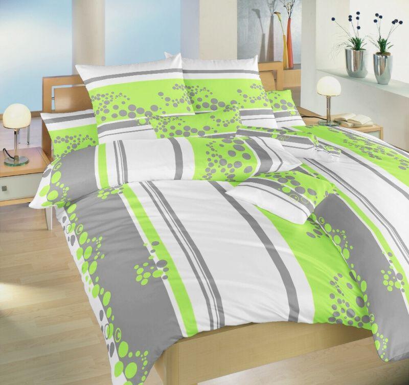 Krepové povlečení zeleno bílé barvy a šedými pruhy Dadka