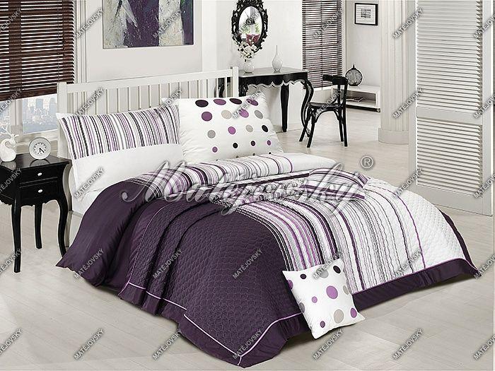 Přehoz Modern art lila s geometrickým vzorem v kombinaci fialových,šedých a bílých tónů Matějovský