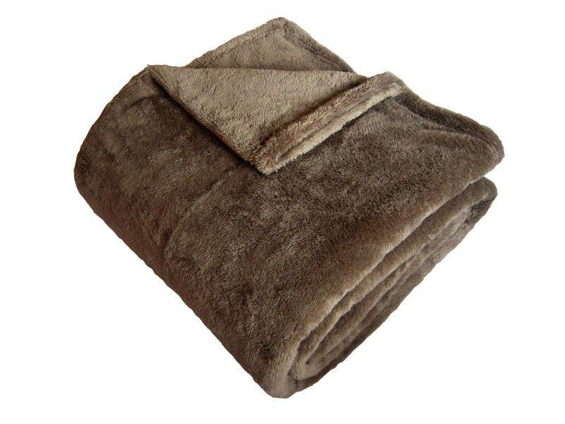 Hřejivá super soft deka stedně hnědé barvy Dadka
