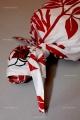Bavlněné povlečení bílé s červenými květy DELUX ČERVENÉ kvalitex