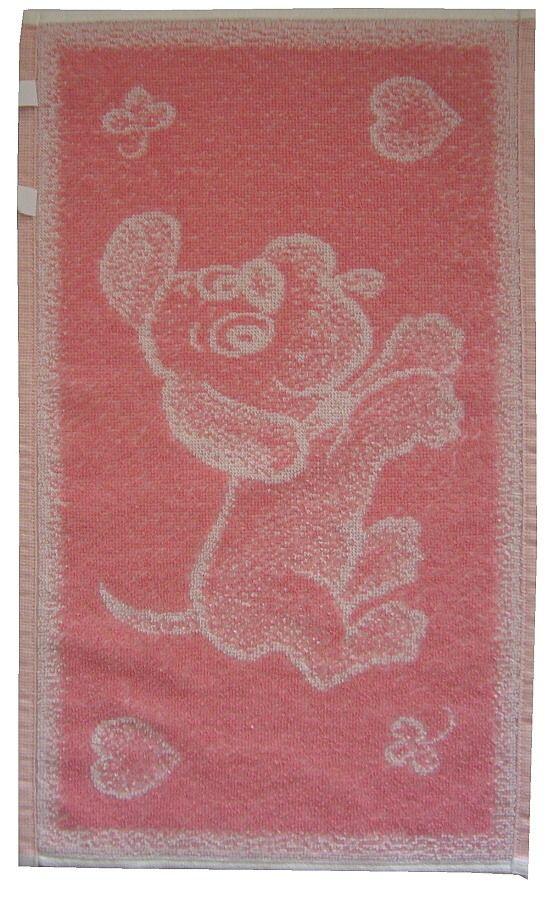Dětský ručník růžový s motivem pejska Frotex
