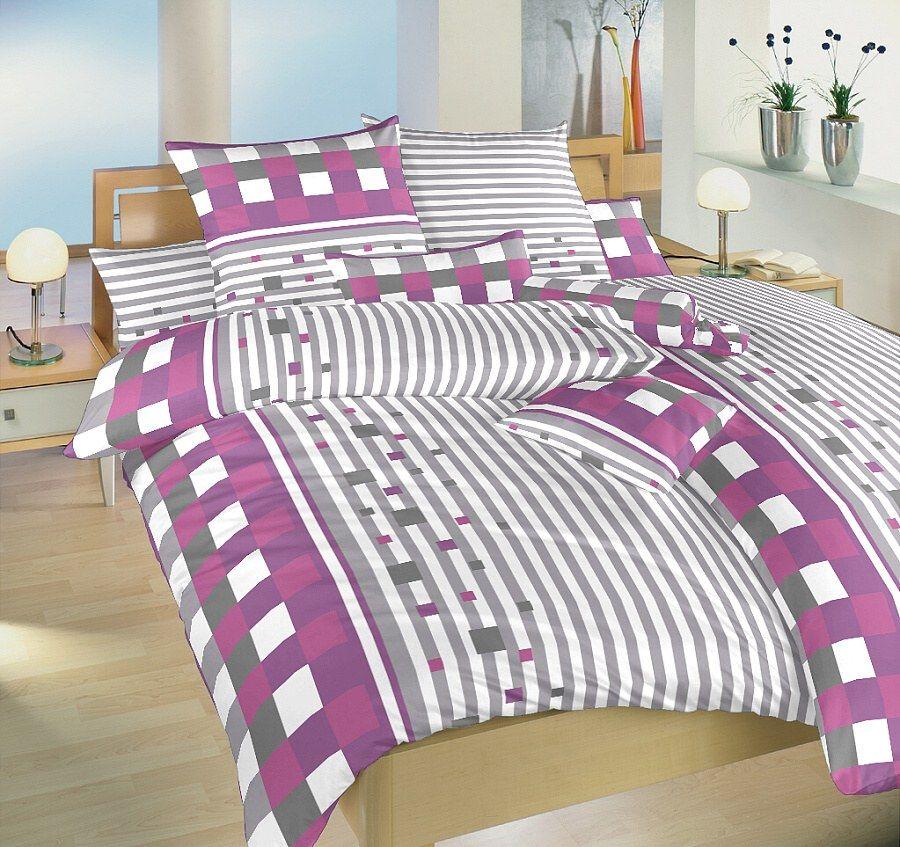 Saténové povlečení laděné do šedé a fialkové barvy v kombinaci s bílou Dadka