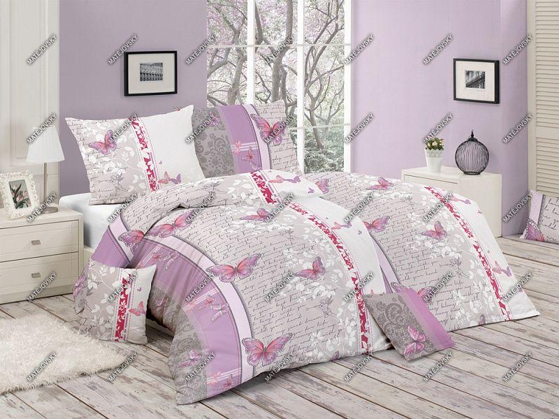 Bavlněné povlečení s romantickým motivem laděné do růžovo-fialové barvy Matějovský