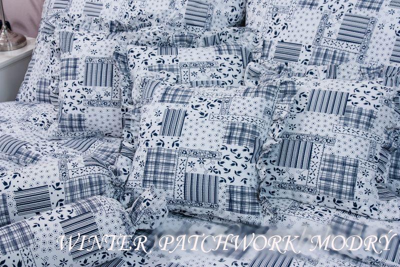 Povlak jednoduchý WINTER PATCHWORK modrý český výrobce