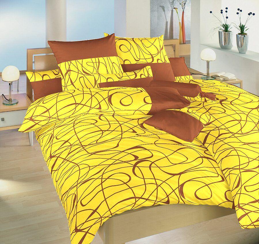 Saténové povlečení s nugátovým vzorem na žlutém podkladu Dadka