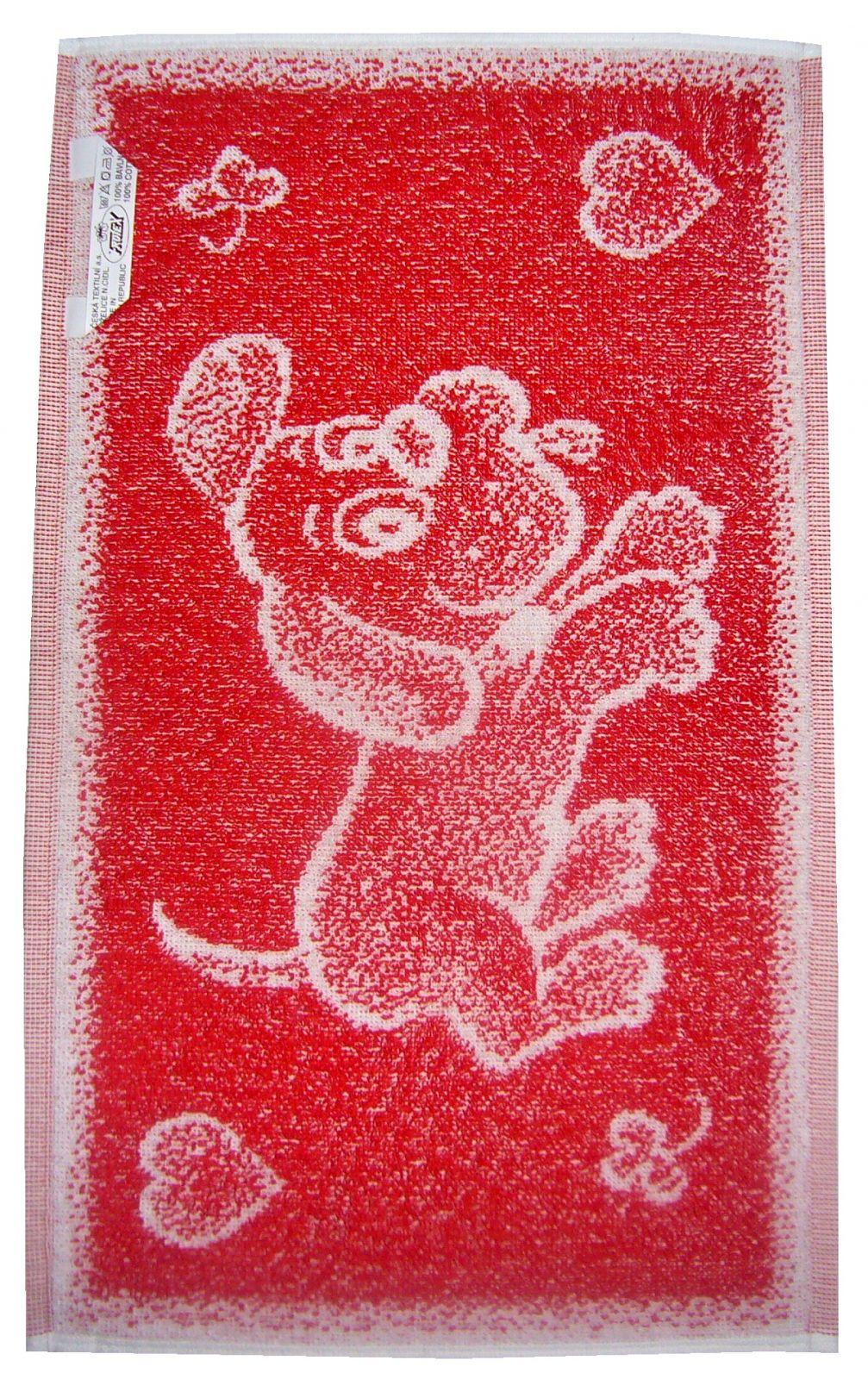 Dětská ručník červený pejsek Frotex