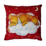 Svítící polštářek Medvídci good night červená 28x28 cm