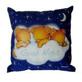 Svítící polštářek Medvídci good night modrá 28x28 cm