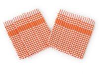 Utěrka PAR oranžovobílá  kostka 45x65 cm  balení 3 ks