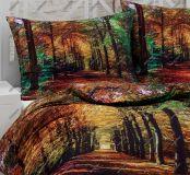 Bavlněné povlečení s motivem lesa v podzimních barvách v digitálním tisku Matějovský