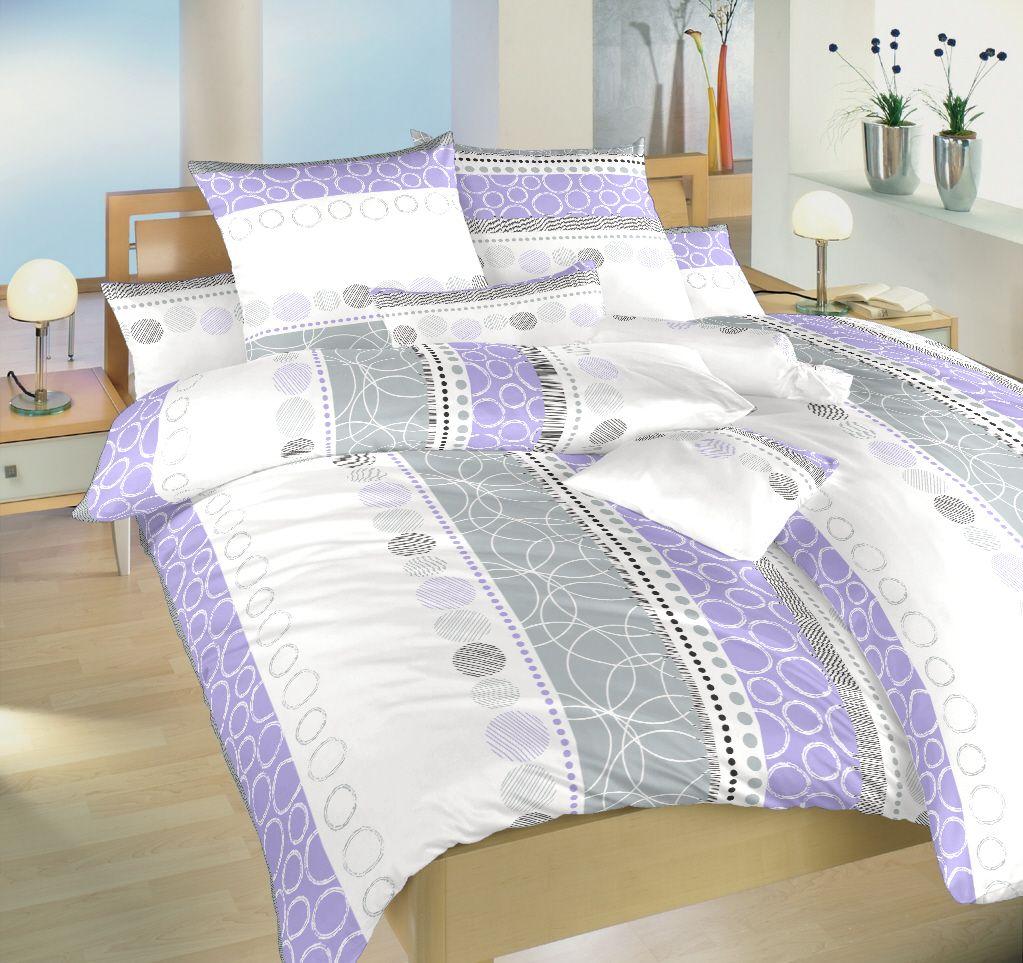 Bavlněné povlečení šedobílé barvy s kombinací fialové Ateliér Dadka