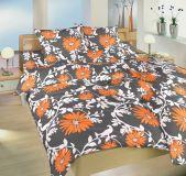 Bavlněné povlečení tmavě šedé barvy s výraznými oranžovými květy Dadka