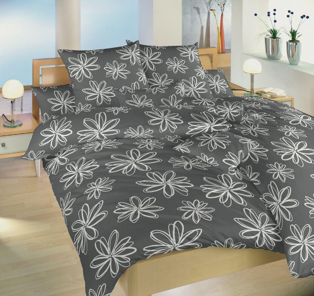 Krepové povlečení tmavě šedé barvy se vzorem květů Dadka