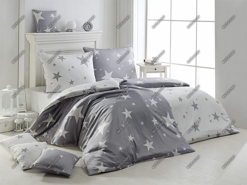 Bavlněné povlečení s hvězdami v kombinaci stříbřitě šedé a bílé barvy Matějovský