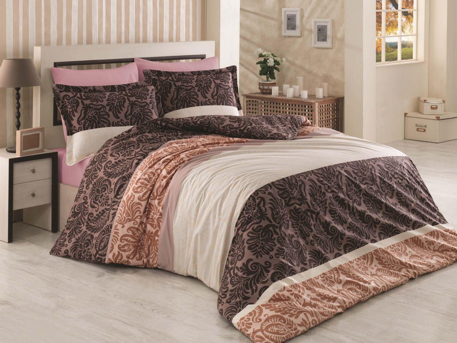 Kvalitní bavlněné povlečení s motivem ornamentů v hnědých odstínech Kvalitex