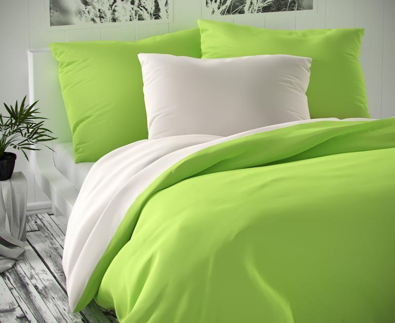 Povlečení saténové zeleno bílé luxusní Kvalitex